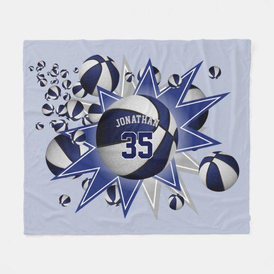 sporty blue white basketball blowout boys girls fleece blanket