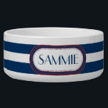 "Sporty Blue | White Stripes Pattern Monogram Bowl<br><div class=""desc"">Sporty dark midnight blue and white with red accents nautical look bold stripes style pattern. Some items in this design collection can be personalized with your initial or name and/or other text in the fields provided. Other color combinations are available upon request. If you like this pattern, but don&#39;t see...</div>"