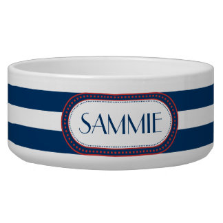 Sporty Blue | White Stripes Pattern Monogram Bowl