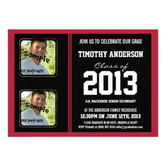 Sporty Boy Grad Black and Red TWO Photos Custom Announcements