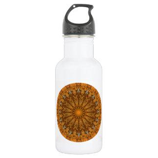 Sporty Brown and Orange Round Mandala Water Bottle