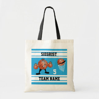 Sporty Cartoon Basketball Character | Baby Blue Tote Bag