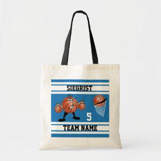Sporty Cartoon Basketball Character | Blue Tote Bag