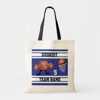 Sporty Cartoon Basketball Character | Dark Blue Tote Bag