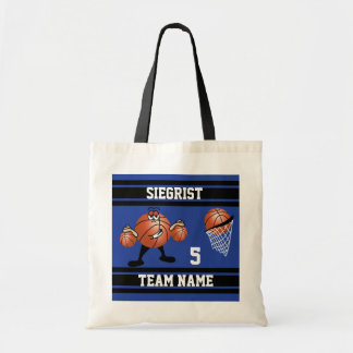 Sporty Cartoon Basketball Character | Dark Blue Tote Bag