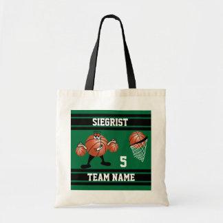 Sporty Cartoon Basketball Character | Dark Green Tote Bag