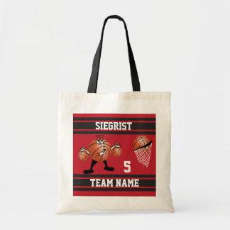 Sporty Cartoon Basketball Character | Dark Red Tote Bag