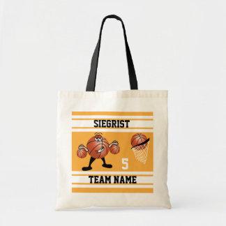 Sporty Cartoon Basketball Character | Gold Tote Bag
