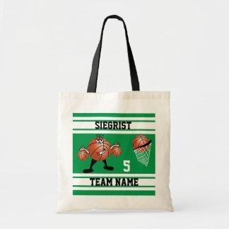 Sporty Cartoon Basketball Character | Green Tote Bag