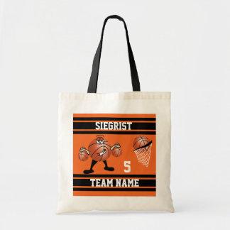 Sporty Cartoon Basketball Character | Orange Tote Bag