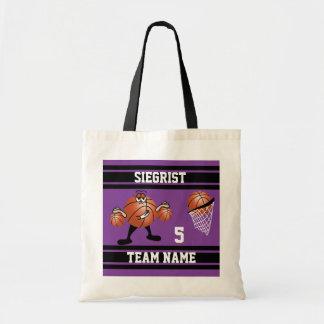 Sporty Cartoon Basketball Character | Purple Tote Bag