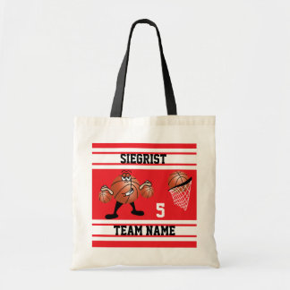 Sporty Cartoon Basketball Character | Red Tote Bag