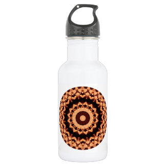 Sporty Chocolate Brown Round Mandala Water Bottle