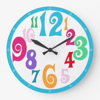 Sporty Colorful Chic Blue Trim wall clock