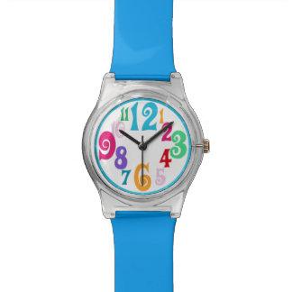 Sporty Colorful Chic Blue Trim wall clock Wrist Watch