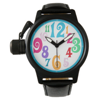 Sporty Colorful Chic Blue Trim Watch Face Numbers