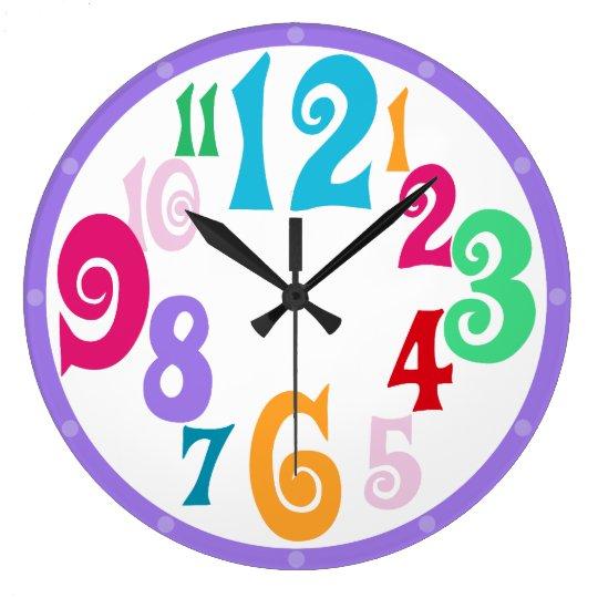 Sporty Colorful Chic Purple Trim wall clock