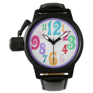 Sporty Colorful Chic Purple Trim Watch Face Number
