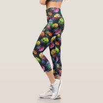 Sporty Colorful Pickleball Pattern Capri Leggings