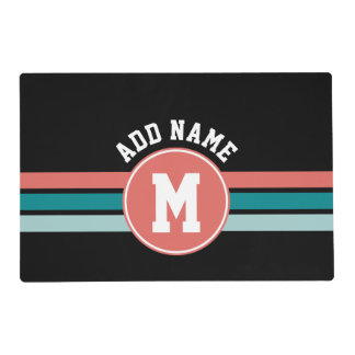 Sporty Custom Monogram with Retro Stripes Placemat