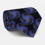 Sporty Dark Blue and Black Volleyball Neck Tie