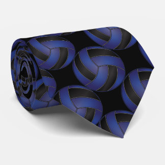 Sporty Dark Blue and Black Volleyball Neck Tie