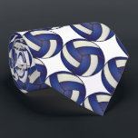 """Sporty Dark Blue and White Volleyball Neck Tie<br><div class=""""desc"""">Men&#39;s Volleyball Sport Tie. Made with high resolution vector and/or digital graphics for a professional print. NOTE: (THIS IS A PRINT. All zazzle product designs are &quot;prints&quot; unless otherwise stated under &quot;About This Product&quot; area) The design will be printed EXACTLY like you see it on the screen and on the...</div>"""