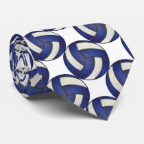 Sporty Dark Blue and White Volleyball Neck Tie