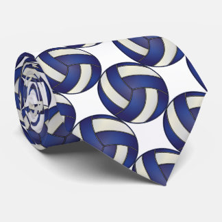 Sporty Dark Blue and White Volleyball Neck Tie