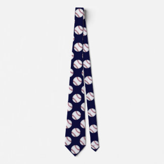Sporty Dark Blue Baseball Tie