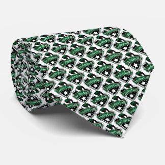 Sporty Dark Green, White and Black Volleyball Logo Tie