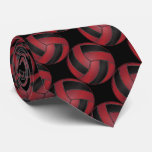 Sporty Dark Red and Black Volleyball Neck Tie