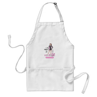 Sporty Figure Skate Girl With Bag Adult Apron
