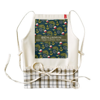 Sporty Fishing Pattern with Custom Name Zazzle HEART Apron