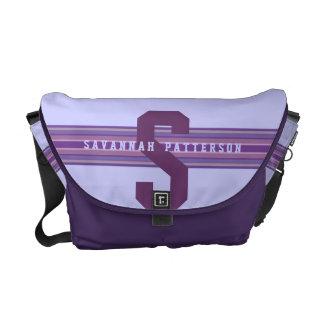 Sporty Girl Bold Purple Monogram Stripe Messenger Bag