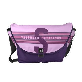 Sporty Girl Bold Purple Monogram Stripe Courier Bag