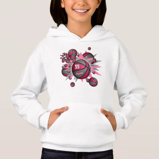 sporty girl's pink gray basketball blowout hoodie