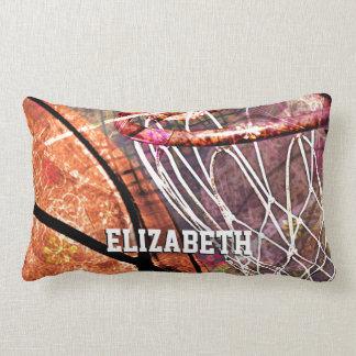 Sporty Girly Basketball and Hoop Pink Purple Lumbar Pillow