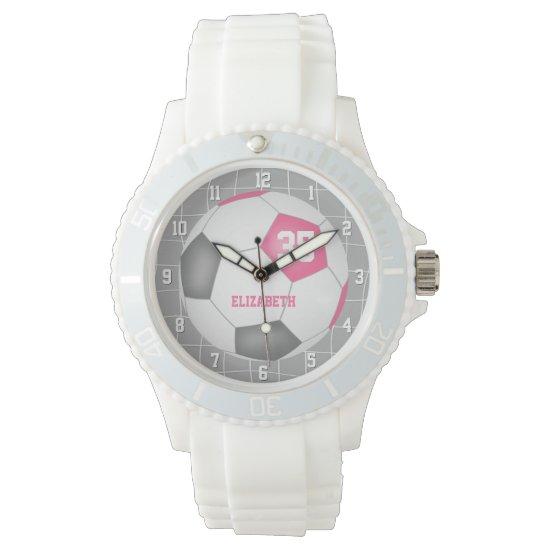 sporty goal net detail pink gray white soccer watch