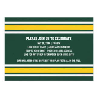 Sporty Graduate Photo Party - Green & Gold Stripes Personalized Invitations