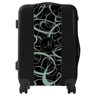Sporty grayed jade and gray on black w/ monogram luggage
