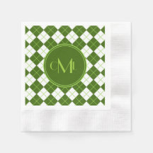 Sporty Green Argyle Print with Monograms Coined Cocktail Napkin