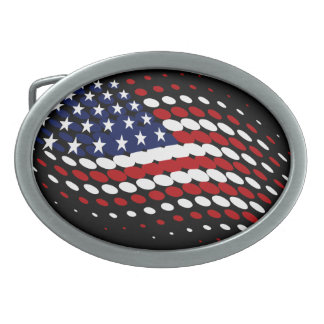 Sporty Halftone USA American Flag Belt Buckle
