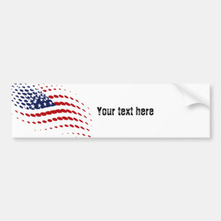 Sporty Halftone USA American Flag Bumper Sticker