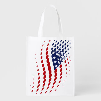 Sporty Halftone USA American Flag Grocery Bags