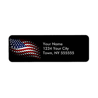 Sporty Halftone USA American Flag Label