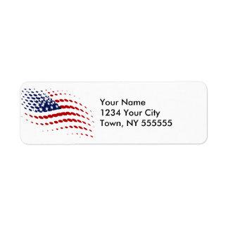 Sporty Halftone USA American Flag Label