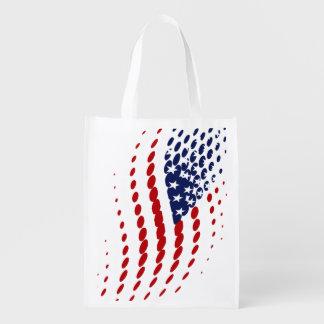 Sporty Halftone USA American Flag Grocery Bags