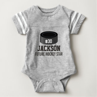 Sporty Hockey Puck Custom Baby Name, Number, Team Infant Bodysuit