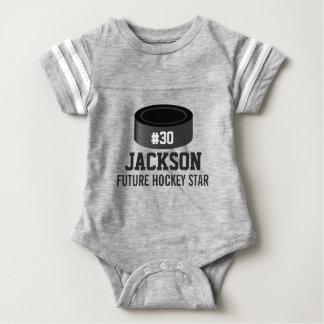 Sporty Hockey Puck Custom Baby Name, Number, Team Infant Bodysuit